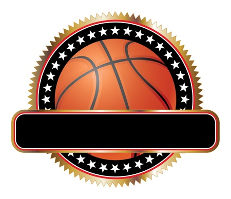 Basketball Design Emblem Stars is an illustration of a basketball design including stars and a large banner for your text