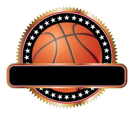 Basketball Ontwerp Emblem Stars is een illustratie van een basketbal ontwerp inclusief sterren en een grote banner voor uw tekst