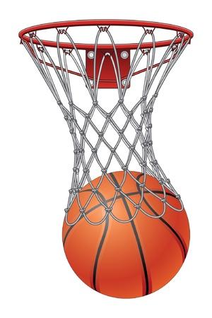 basketball net: Baloncesto A trav�s de Internet es una ilustraci�n de una pelota de baloncesto pasando por una canasta de baloncesto para anotar Vectores