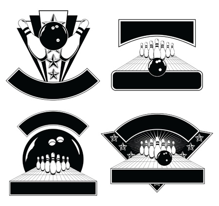 bowling sport: Bowling Design Emblem Templates is an illustration of four Bowling Design Templates including bowling balls, pins, and lanes. Great for t-shirts.