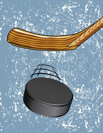 the puck: Hockey Puck on Ice is an illustration of a Hockey Puck being hit with a hockey stick with an ice background.