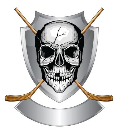 Hockey Schedel Met Stokken is een illustratie van een menselijke schedel met gebroken tanden en gebarsten schedel met twee ijshockeysticks gekruist op een schild met banner