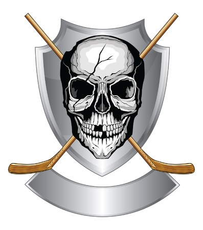 Hockey Skull With Sticks is an illustration of a human skull with broken teeth and cracked cranium with two crossed ice hockey sticks on a shield with banner