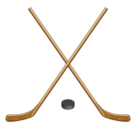 Ice Hockey Sticks and Puck is an illustration of two crossed ice hockey sticks and a hockey puck  Great for logos and t-shirts