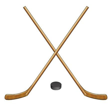 IJshockey Sticks en Puck is een illustratie van twee gekruiste ijshockey sticks en een hockey puck Ideaal voor logo's en t-shirts Stock Illustratie