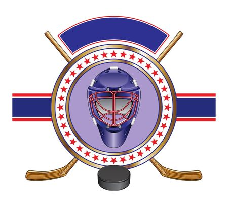 Hockey Design Template Banner is an illustration of a hockey design template with helmet, sticks, puck and banner for your text