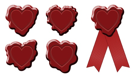 Wax Stamp Seal Heart is an illustration of a wax seal stamped with a heart shaped stamp  Used to seal letters  Ilustração