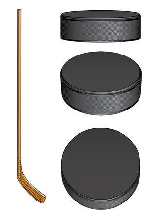 Ice Hockey Stick and Pucks is an illustration of a hockey stick and three views of a hockey puck