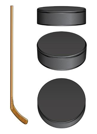 IJshockey Stick en Pucks is een illustratie van een hockeystick en drie aanzichten van een hockey puck Stock Illustratie