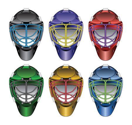 Ice Hockey Goalie Masks is an illustration of ice hockey goalie masks in six different colors six with different color face cages  Ilustração