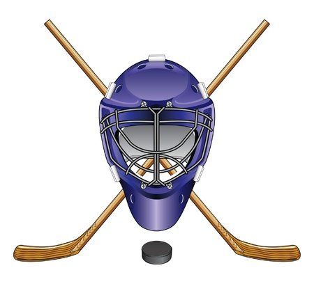 sports helmet: Ice Hockey Goalie Mask Sticks and Puck is an illustration of an ice hockey goalie mask, sticks and puck  Great for logos