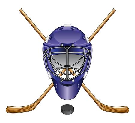 Ice Hockey Goalie Mask Sticks en Puck is een illustratie van een ijshockey goalie masker, stokken en puck Ideaal voor logo's