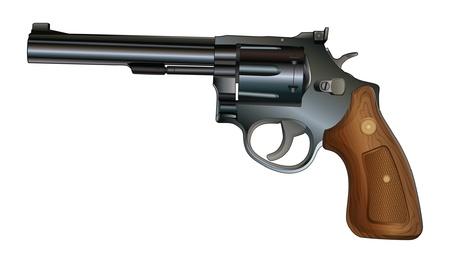 Revolver is een illustratie van een revolver stijl pistool Zwart met houten greep