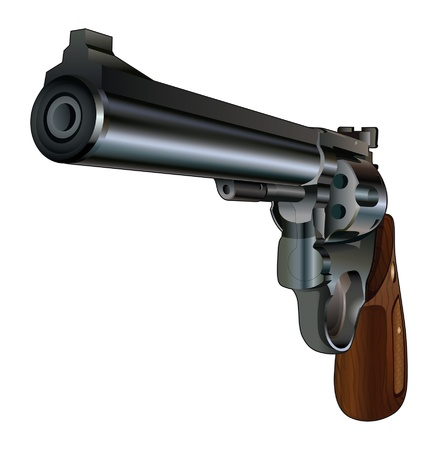 black grip: Revolver Pointed at You is an illustration of a revolver style handgun from a three quarter angle  Black with wood grip