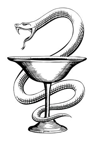 Farmacia de la serpiente y de la Copa Medical Symbol es una ilustración del diseño del símbolo farmacia que contiene una serpiente y la copa Ilustración de vector