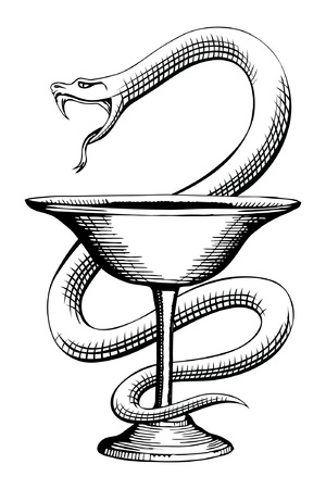 pharmacy symbol: Pharmacy Snake and Cup Medical Symbol is an illustration of the pharmacy symbol design containing a snake and cup  Illustration