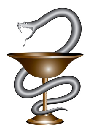 Pharmacy Snake and Cup Symbol is an illustration of the pharmacy symbol design including a snake and cup in a graphic style