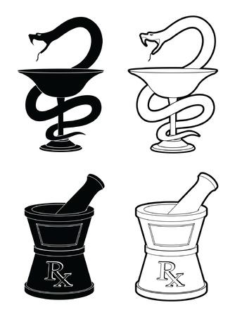 vijzel: Apotheek Symbolen is een illustratie van de symbolen die worden gebruikt voor apotheken vertegenwoordigen One is de slang en de kop-symbool en de andere is de vijzel en stamper symbool in eenvoudige zwart-wit stijl