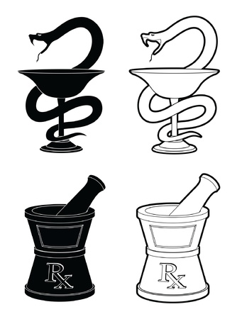 pestle: Pharmacy Symbols is an illustration of symbols used to represent pharmacies  One is the Snake and cup symbol and the other is the mortar and pestle symbol  In simple black and white style
