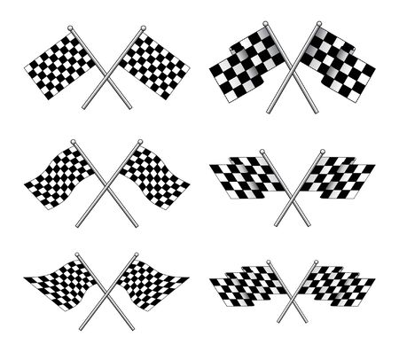 Racing Flags is an illustration of six different styles of black and white racing flags