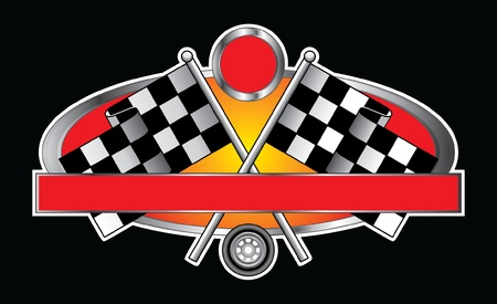 checker: Racing Design With Banner is an illustration of a Racing Design with race flags, wheel, banner for your text and open circle for the car number  Great for t-shirts