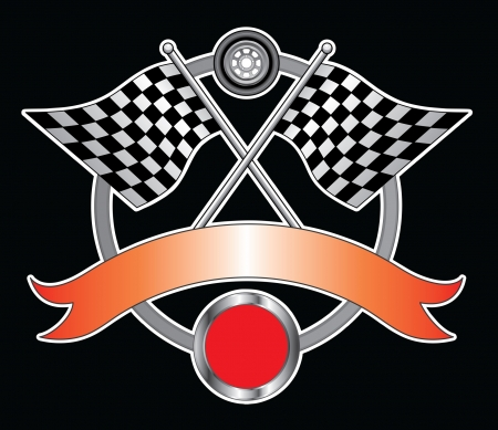 racing: Racing Design With Ribbon is an illustration of a Racing Design with race flags, wheel, ribbon for your text and open circle for the car number  Great for t-shirts