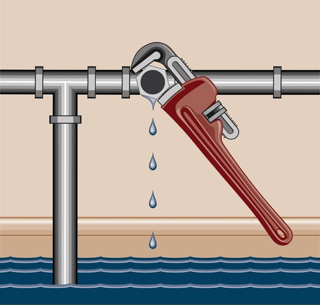 leaking: Leaking Pipe Repair is an illustration of a leaking water pipe being repaired using a plumbers adjustable wrench  Illustration