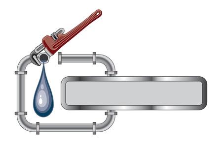 plomeria: Diseño de tuberías con la bandera es una ilustración de un diseño de tuberías con tubos, llave ajustable y bandera para su texto