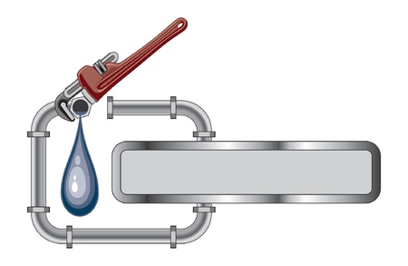 pipe wrench: Plumbing Design With Banner is an illustration of a plumbing design with pipes, adjustable wrench and banner for your text