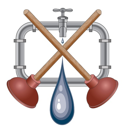 Plumbing Design With Plungers is an illustration of a plumbing Design with plungers, pipes, faucet and water droplets  Vector