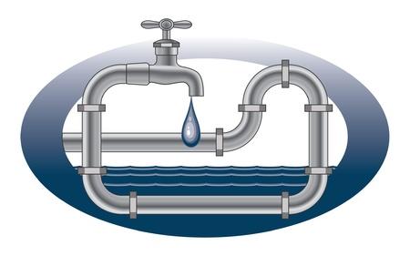 꼭지: 물이 뚝뚝 떨어지는 수도꼭지 배관 설계 수도꼭지, 파이프와 물 떨어지는 배관 디자인의 그림입니다 일러스트