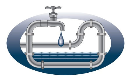 faucets: Dripping Faucet Plumbing Design is an illustration of a plumbing design with dripping faucet, pipes and water