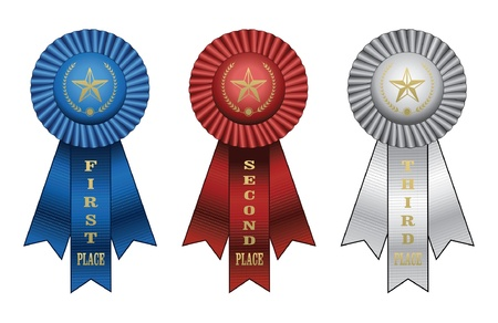 Award Ribbons is an illustration of a Blue ribbon for first place award, red ribbon for second place award, and white ribbon for third place award  Illustration