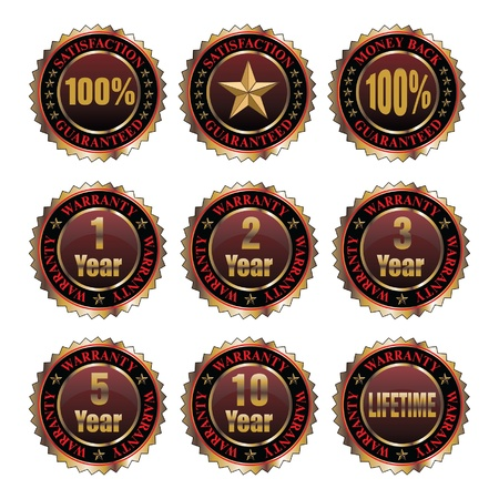 Warranty Guarantee Labels is an illustration of labels for 1, 2, 3, 5, 10 and lifetime warranties as well as labels for 100  satisfaction guarantee and 100  money back guarantee  Vector