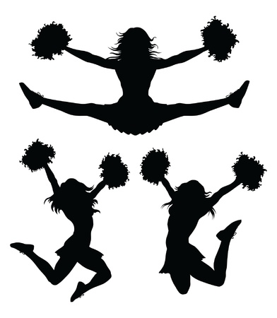 Cheerleaders is an illustration of a cheerleader jumping and cheering  There are three poses in silhouette