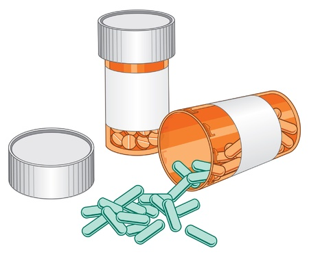 Pill Bottles-Prescription Drug is an illustration of two pill bottles  One of the bottles is open and spilling pills out of it