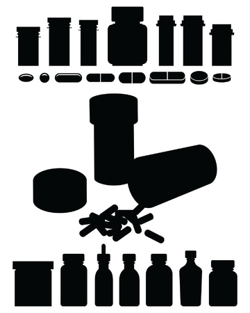 Pill Bottle-Prescription Drug Silhouettes is an illustration of pill bottles or prescription drug bottles in silhouette including one turned over
