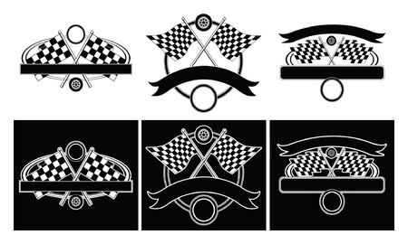 checker flag: Racing Design Templates is an illustration of designs for car racing  Three designs on a white and black background  Blank space for your text  Great for t-shirt designs  Illustration