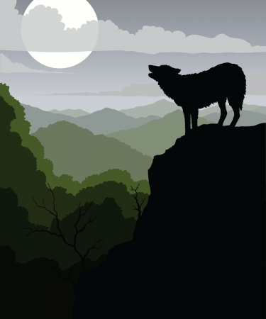 Wolf Howling is an illustration of a wolf howling at the moon with a background of rolling mountains  Vector