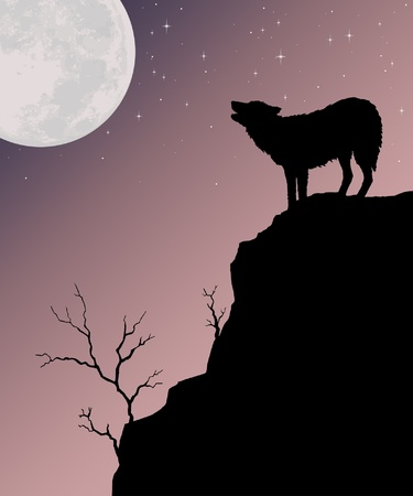 Wolf Howling at Moon is an illustration of a wolf howling at the moon with a background of the moon and a starry sky