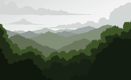 Blue Ridge Mountains is an illustration of a mountain landscape  Shows a view of the rolling Blue Ridge Mountains fading in the distance  Vectores
