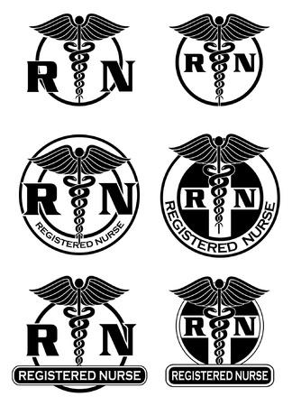 등록 된 간호사 디자인은 여섯 가지 간호사 의료 기호의 그림 로고 또는 티셔츠에 대한 그래픽 스타일에 멋진 디자인입니다