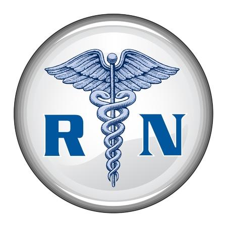 Button Registered Nurse è una illustrazione di un blu registrato infermiere medico simbolo su un bottone bianco Archivio Fotografico - 20198591