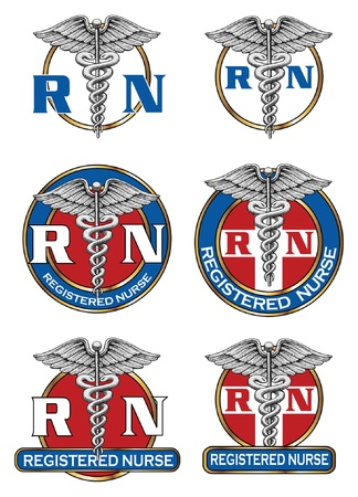 Registered Nurse Designs is an illustration of six different registered nurse medical symbol designs  Great for logos or t-shirts