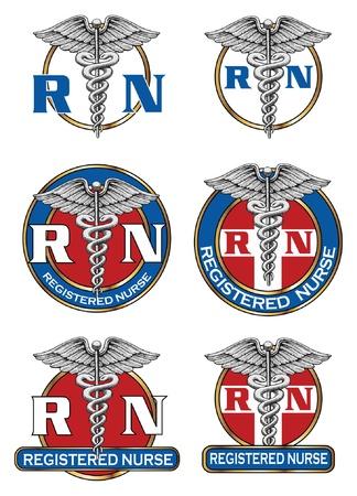 Registered Nurse Designs is een illustratie van zes verschillende verpleegkundige medische symbool ontwerpen Ideaal voor logo's of t-shirts Stock Illustratie