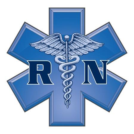 Registered Nurse Star of Life Medical Symbol is an illustration of a blue registered nurse medical design in a star of life medical symbol