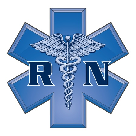 Registered Nurse Star of Life Medical Symbol is an illustration of a blue registered nurse medical design in a star of life medical symbol