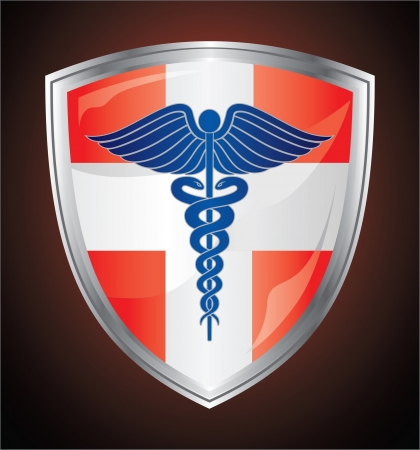 Caduceus Medical Symbol Shield is an illustration of a caduceus medical symbol on a red and white first aid shield  Vector