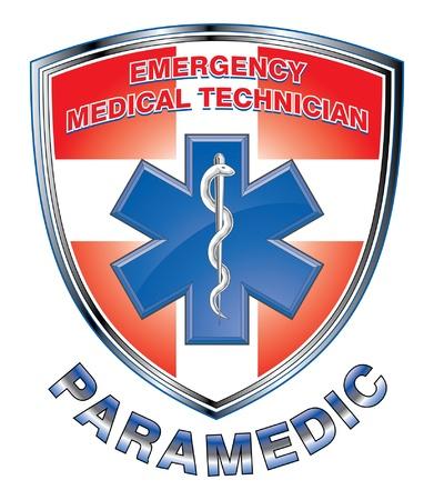 estrella de la vida: EMT Paramedic Medical Design Shield es una ilustración de un EMT o paramédico diseño con la estrella del símbolo médico de vida y primeros auxilios cruz en un escudo