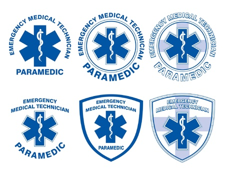 emergency services: EMT Paramedic Medical Designs is an illustration of six EMT or paramedic designs with star of life medical symbols